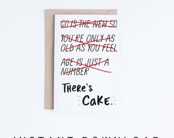 60th Birthday Cards, Printable Cards, Instant Download, 60 Birthday, Funny Birthday, For Him, For Her, Gag Gifts, Getting Old, There's Cake
