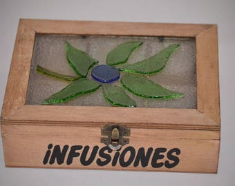 Wooden box for tea with glass fused with flower trim top. Exclusive and functional craft.