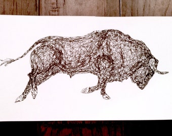Original Spanish Bull pen & ink drawing