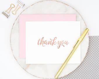 Rose Gold Foil Thank You Cards, Rose Gold Stationery, Rose Gold Notecards, Rose Gold Foil, Thank You Note Cards, Rose Gold Foil Paper