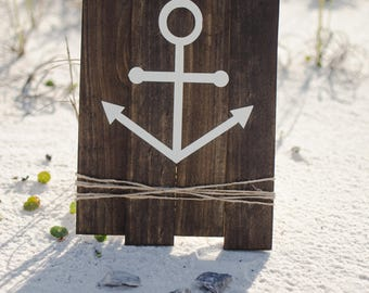 Anchor Sign / Nautical Decor / Wooden Beach Sign / Sign With Twine / Coastal Sign / Pallet Sign / Home Is Where The Anchor Drops