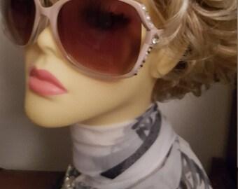 Sparkling Oversize Frame Sunglasses adorned with Swarovski Crystals - Sweet Pink Opal