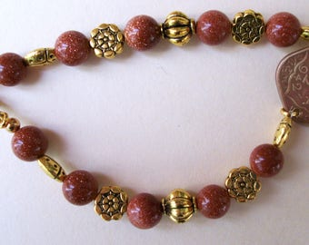 Goldstone and Indian Coin Bracelet