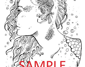 Jellyfish Girl Coloring Page