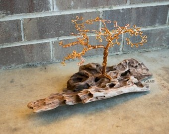 Copper Wire Tree Scupture, Tree of Life, Wire Tree Sculpture, Tree Sculpture, Copper Tree, Driftwood Art Tree Sculpture, Wire Tree Art, Tree