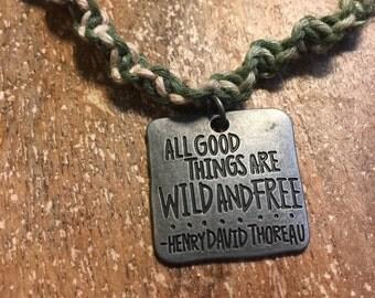 Custom Necklace Green Hemp Necklace