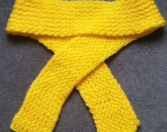 Adult Knit Yellow Long Scarf, Winter Scarf, Warm