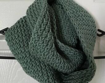 Handmade Green Knit Infinity Scarf