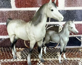 Vintage Breyer Horse Models, Proud Arabian Mare and Foal, #215, Dapple Gray, Collectible Animal Figurine, Ranch and Farm