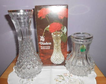 "WMF ""Diadem"" two vase flower vase lead crystal silver edge"