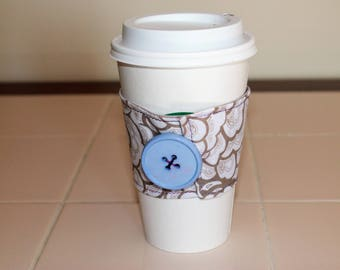 Grey and Purple Reusable Coffee Sleeve with Button