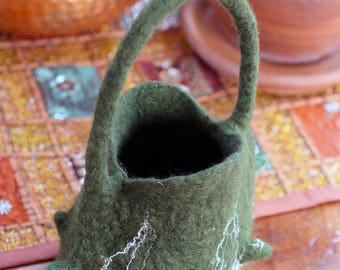 small felted bag in moss green colour