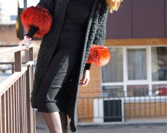 Knit coat with fur
