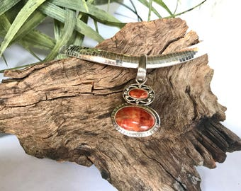 All Natural Sponge Coral and Sterling Silver Pendant