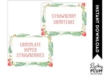 Strawberry Food Tent Card / Strawberry Food Label / Farmers Market Food Tent Card / Tutti  sc 1 st  Etsy & Strawberry tent card   Etsy