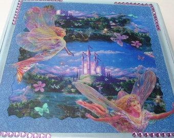 Fairy design recycled box, blue jewelry storage box, fabric decoupage, little girls gift, table decor, purple beaded corners