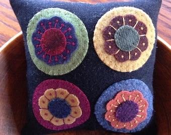 kit; flower penny wool pincushion or mat