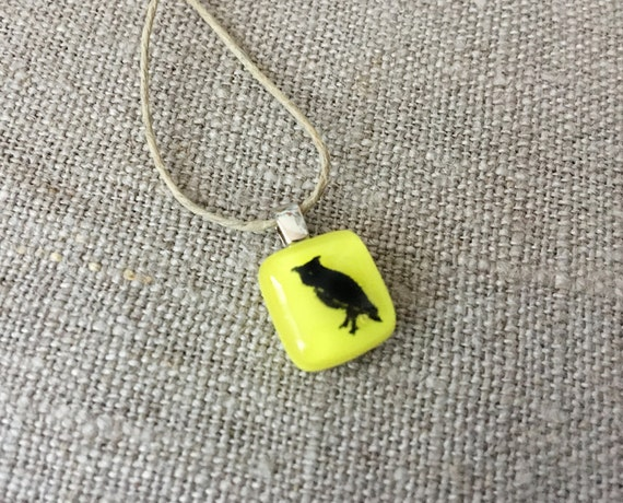 Owl Pendant Glass Jewelry Necklace of Fused Glass by Happy Owl - great horned owl black on yellow cute kids jewelry