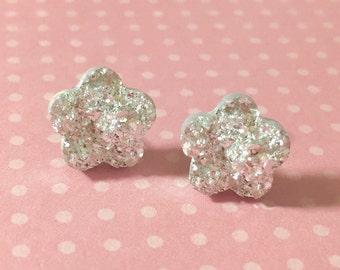 Silver Druzy Flower Studs, Silver Daisy Studs, Druzy Flower Earrings, Sparkling Silver Daisy Studs, Bumpy Drusy Studs, Surgical Steel (SE8)