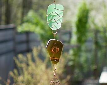 Wind Chime Beach Glass Copper Suncatcher Windchime Outdoor