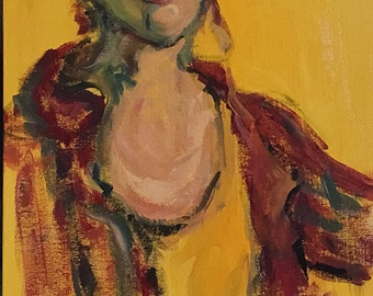 Oh Really? Expressionist Acrylic figure study in reds, yellows and greens