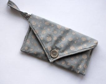 Grey Sketchy Polka Dot Clutch | Envelope Phone purse for iphone 7 with key holder and card holder