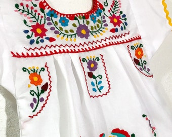Mexican Baby Dress Embroidered White Fiesta Flower Girl Toddler Dress - 12 Months