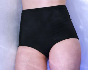 High Waist Black Swim Bottoms