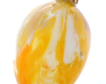 Hand Painted Ornament Easter Egg Decoration - 2.75 Inch Yellow and White