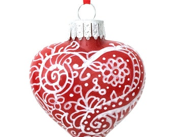 Valentines Day Gift - Red and White Zentangle Glass Hearts Handpainted Inside and Outside Ornament Keepsakes - OOAK Art Pieces