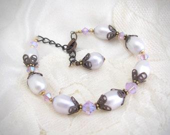 Real Pearl Bracelet, Lilac Blue Pearl Bracelet, Crystal Bracelet, Crystal Pearl Wedding, Bridal Bracelet, Gift for Her Mom Friend