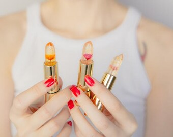 Kailijumei Flower Lipstick with Gold Flakes REAL flower > Boho Gypsy Lip Gloss > RED Lipstick > Jelly Lipstick > Flame Red