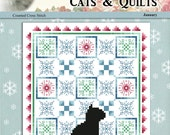 Cats And Quilts January Original Counted Cross Stitch Pattern by Pamela Kellogg of Kitty and Me Designs