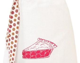 Organic block print pie apron