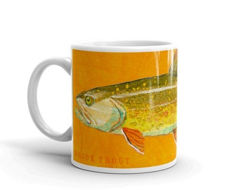 Mugs for Him- Husband Gift- Fish Mug- Brook Trout Mug- Fishing Gift- for Fisherman Gift- Fish Gift for Him