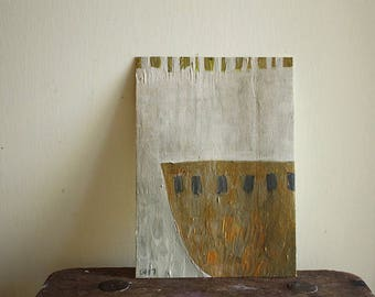 """BRASS BOWL / still life / original painting 5""""x7"""" / acrylic on paper / small painting / by pamelatang"""