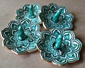 SALE FOUR Lotus Ring Holder Bowls shower favors SECONDS Malachite Green edged in gold