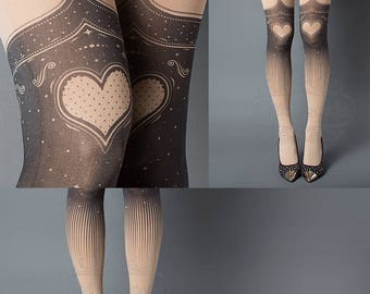 Tattoo Tights, Burlesque Heart garters print Nude thigh highs illusion one size full length printed tights pantyhose, by tattoo socks