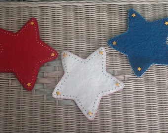 Red, White and Blue Star Penny Rugs