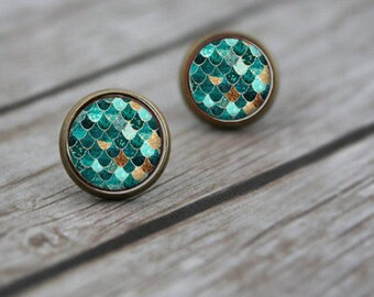 Blue Mermaid Stud Earrings, Silver Post Earrings, Mermaid Earrings, Nautical Jewelry, Stocking Stuffer, Gift for Her, Gift for Girlfriend