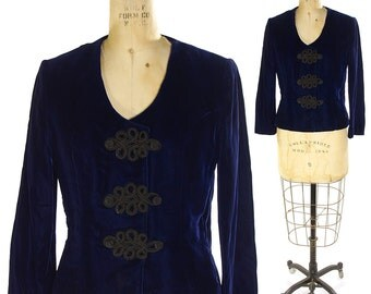 60s Velvet Sgt Pepper Jacket / Vintage 1960s Cobalt Blue Military Inspired Tailored Double Breasted Evening Jacket / Soutache Braid