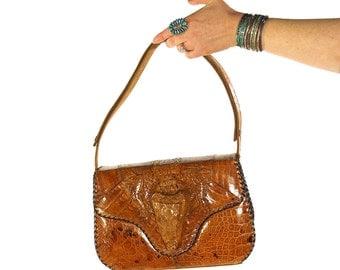 50s Baby Alligator Purse / Vintage 1950s Genuine Taxidermy Handbag / Excellent Condition Crocodile Bag / Handmade Tooled Leather / Panama