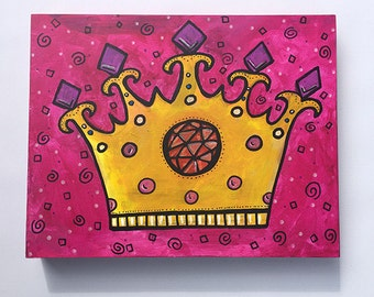 Queen or Princess Crown Painting - Crown Wall Decor for Girls Room - Original Art - Pink and Yellow Wall Art - Royal