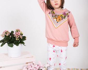 Rose fox print bamboo baby toddler kids sweatshirt Supayana spring 2017