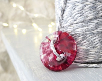 Fused Glass Button. Handmade Glass Button.  Red and Pink Glass Button, Unique Button