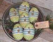 Set of 6 Primitive Polka Dot & Stripe Lime Green and Blue Fabric Easter Happy Spring Eggs Bowl Fillers Ornies Basket Fillers Tucks