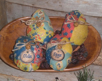 4 Primitive Rustic Olde Time Fabric Faux Patchwork Fabric Easter Eggs Ornies Ornaments Tucks Bowl Fillers