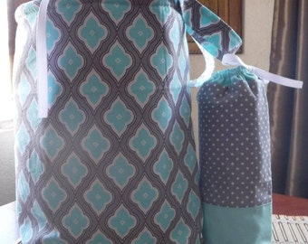 Classic French Style Insulated Drawstring Lunch Bag, Teal White Gray, Polka Dots, Boutique Style, Lined, Lunch Sack, Back To School Supplies