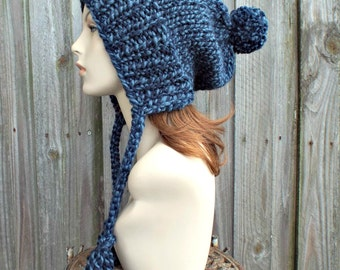 Mixed Blue Pom Pom Hat Slouchy Womens Ear Flap Knit Beanie - Charlotte - READY TO SHIP
