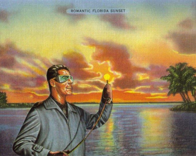 Retro Florida Sunset Art, Vintage Postcard, Unique Artwork